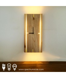 掛鐘 - 原木壁燈掛鐘 精美經典 潮人之選