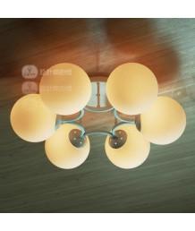天花燈 - 六頭玻璃球天花燈 簡潔優美 乳白色玻璃 潮人必購