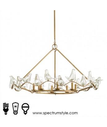 吊燈 - 銅製玻璃小鳥吊燈 經典設計 豪華型燈