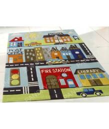 兒童地毯 - 卡通城市地毯地毯 可愛活潑 色彩鮮艷 每平方呎$100 歡迎訂造