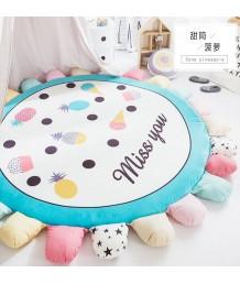 兒童地毯 - 北歐兒童圓型花花地毯 可愛活潑 色彩鮮艷