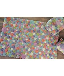 地毯 - 印度名牌Sharde手工鉤針立體花卉羊毛手工地毯 經典製作 收藏絕品
