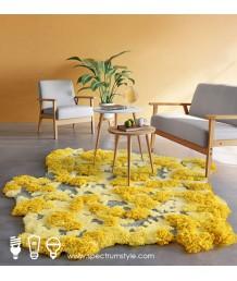 地毯 - 不規則經典黃花花園圖案地毯 時尚有型 部屋必備
