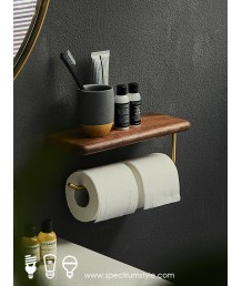 懷舊精品 - 復古木銅製廁紙架 經典品味 型人之選